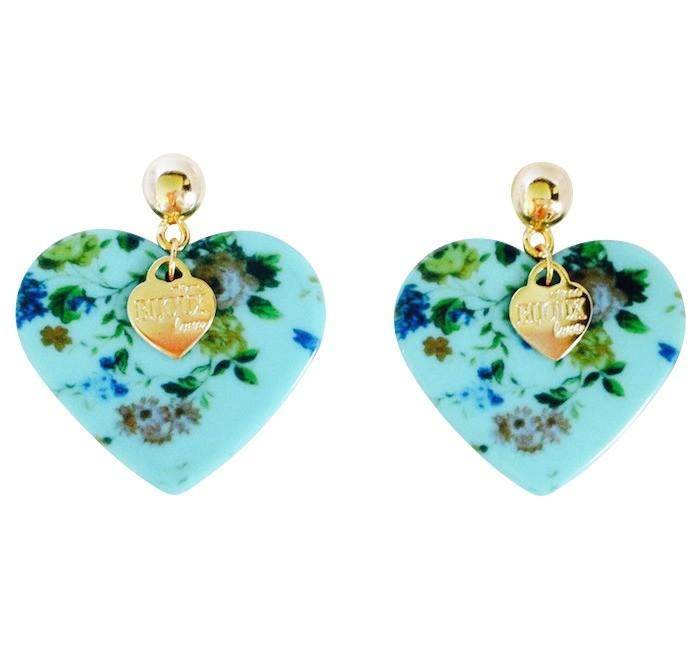 Náušnice modré srdce MB21