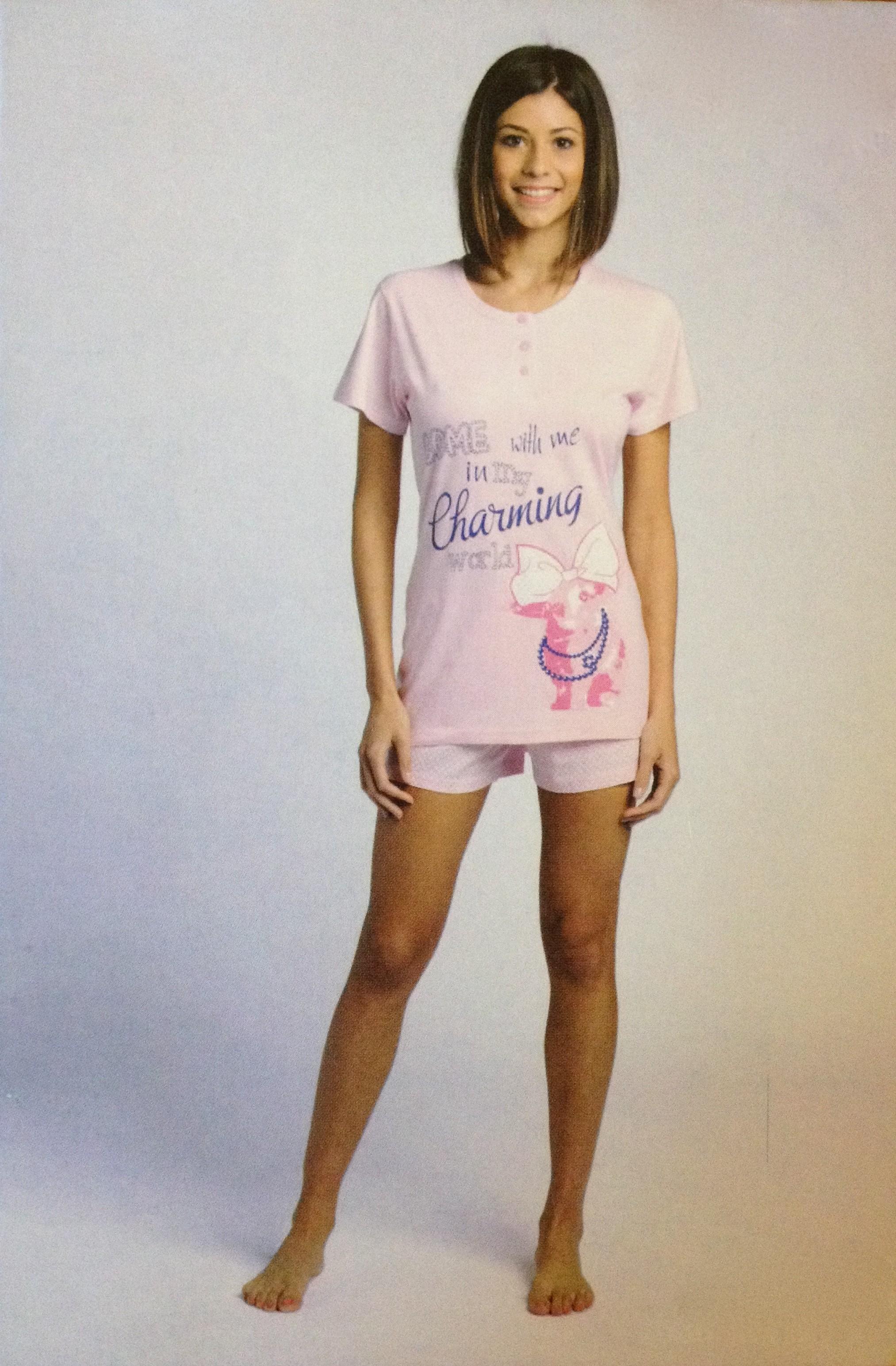 Růžové pyžamo Cotonella L růžová
