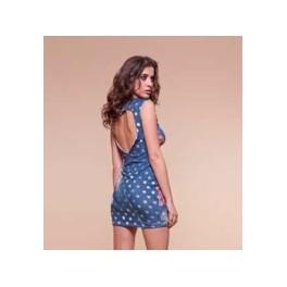 Barevný top/šaty A114 S/M modrá