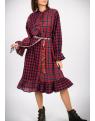 Kostkaté červené šaty