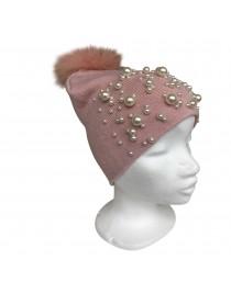 Růžová čepice perly